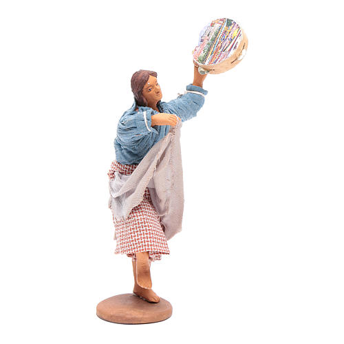 Peasant with tambourine 12 cm Neapolitan Nativity 4
