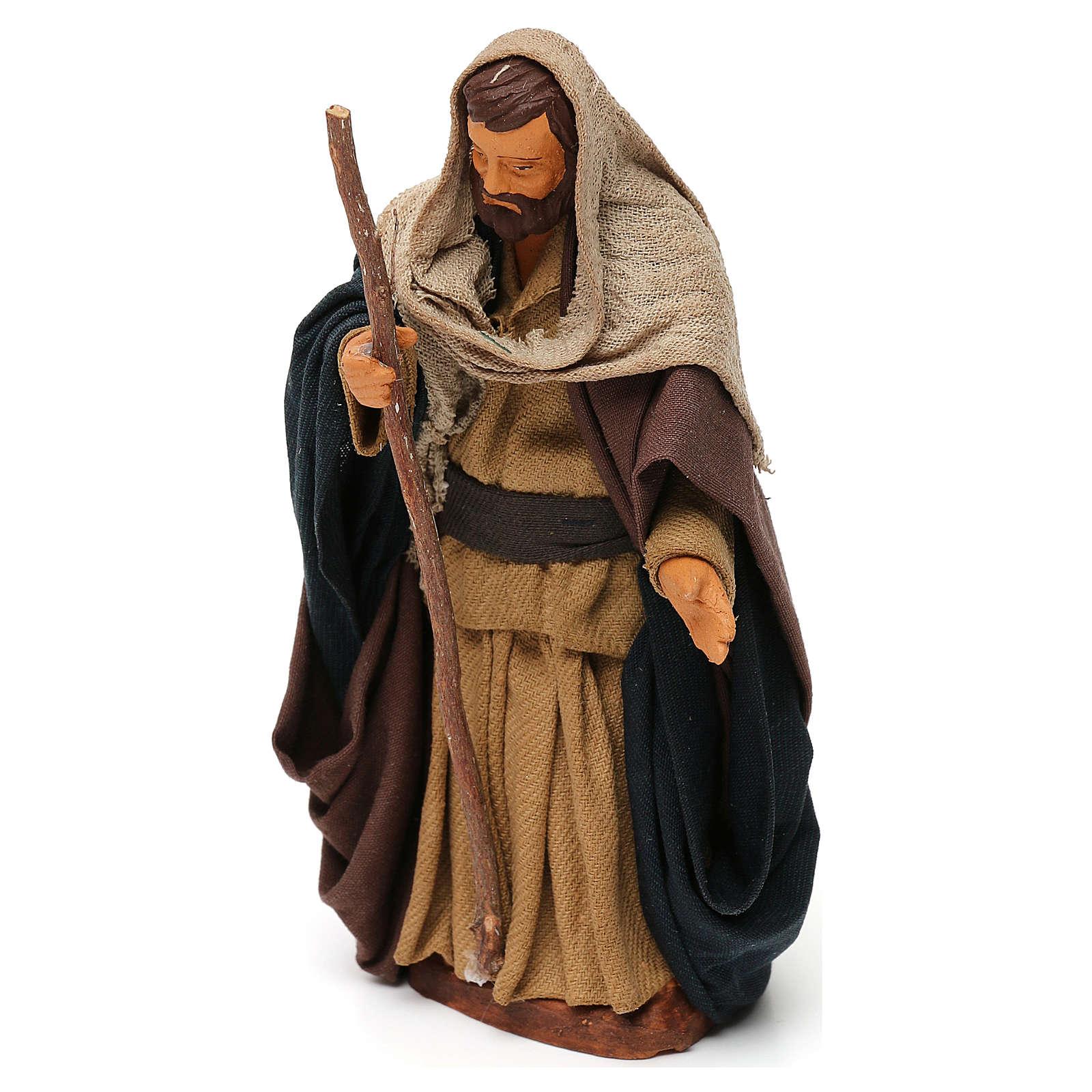 Saint Joseph en terre cuite 12 cm crèche napolitaine 4