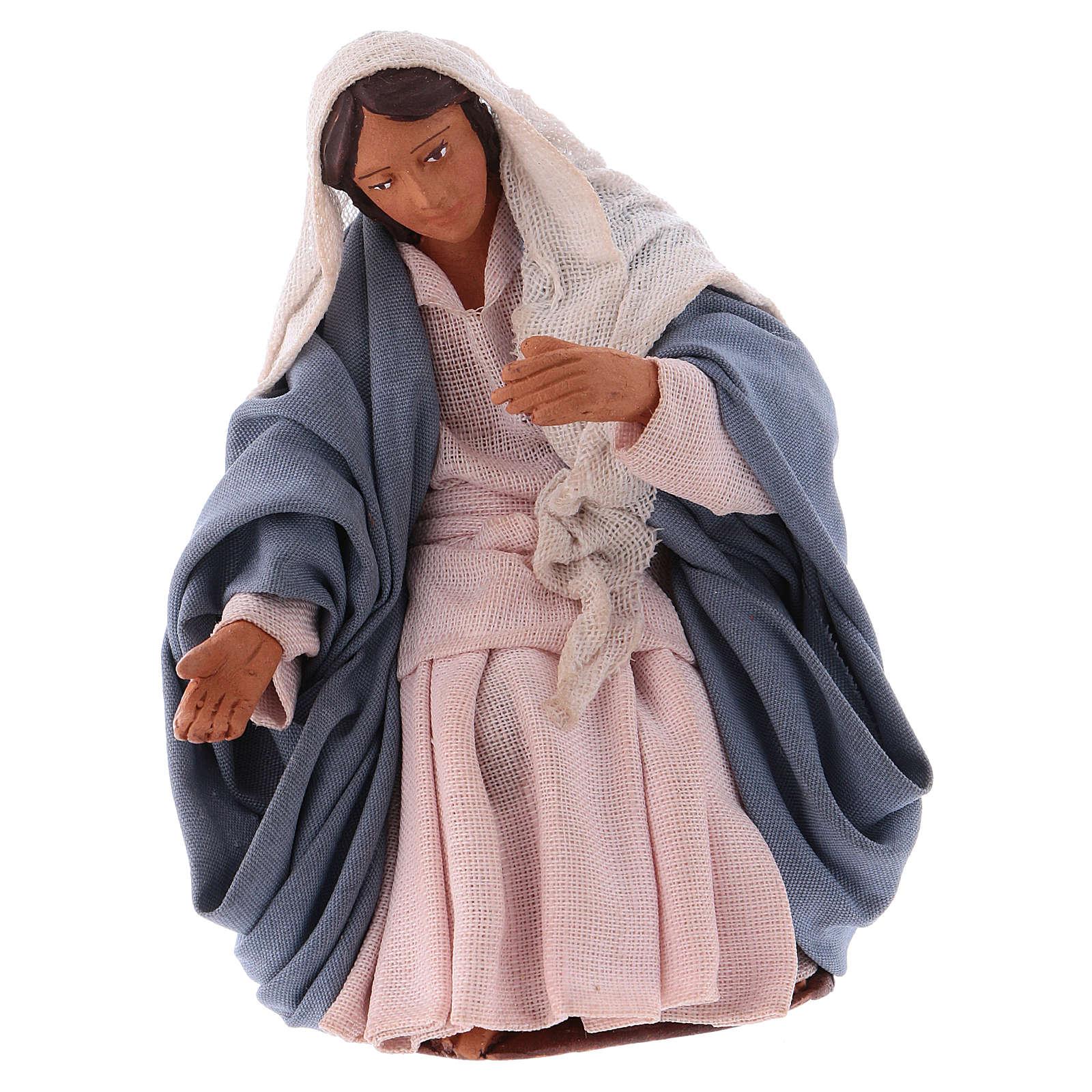 Virgin Mary 12 cm Neapolitan Nativity, terracotta 4