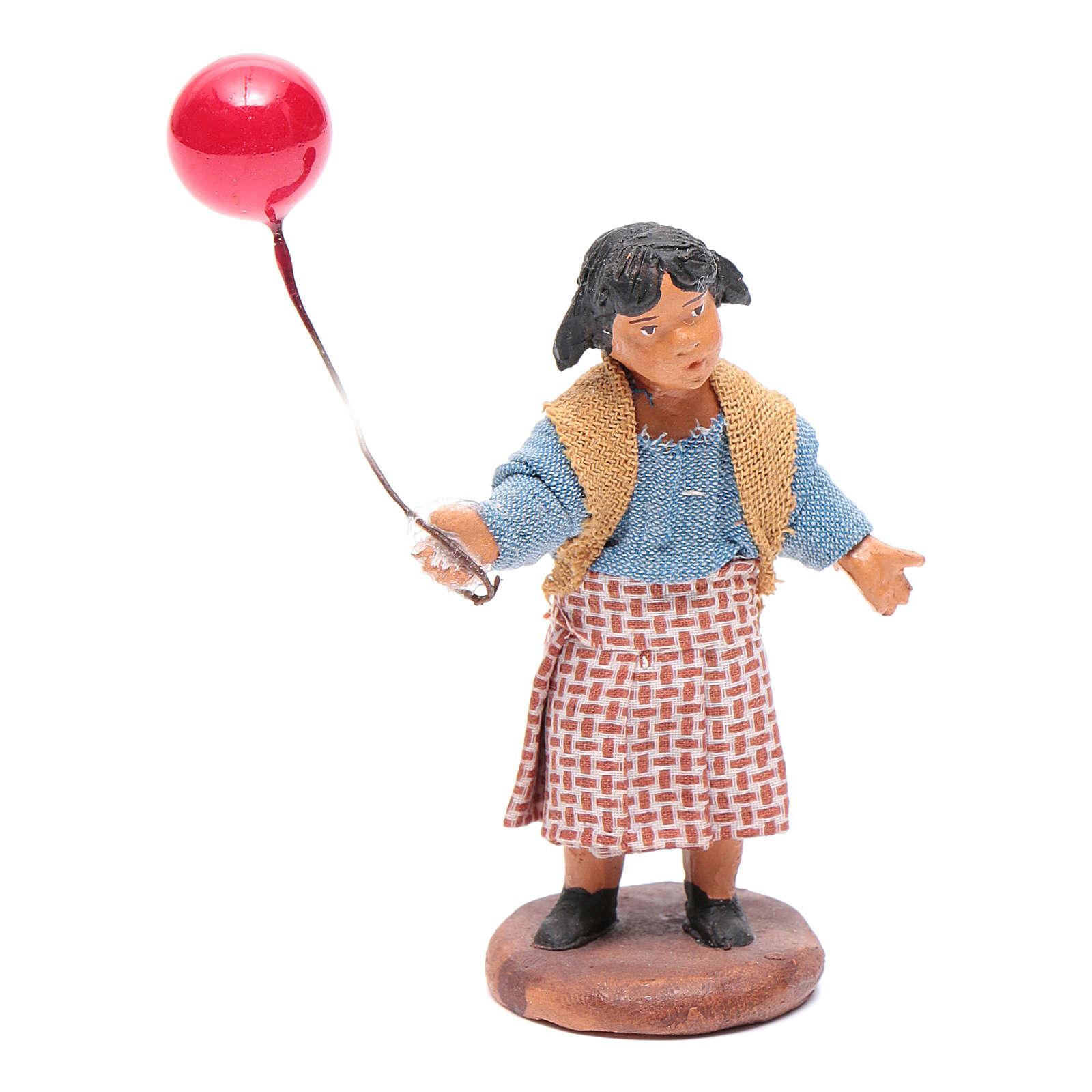 Young girl with balloon 12 cm Neapolitan Nativity 4