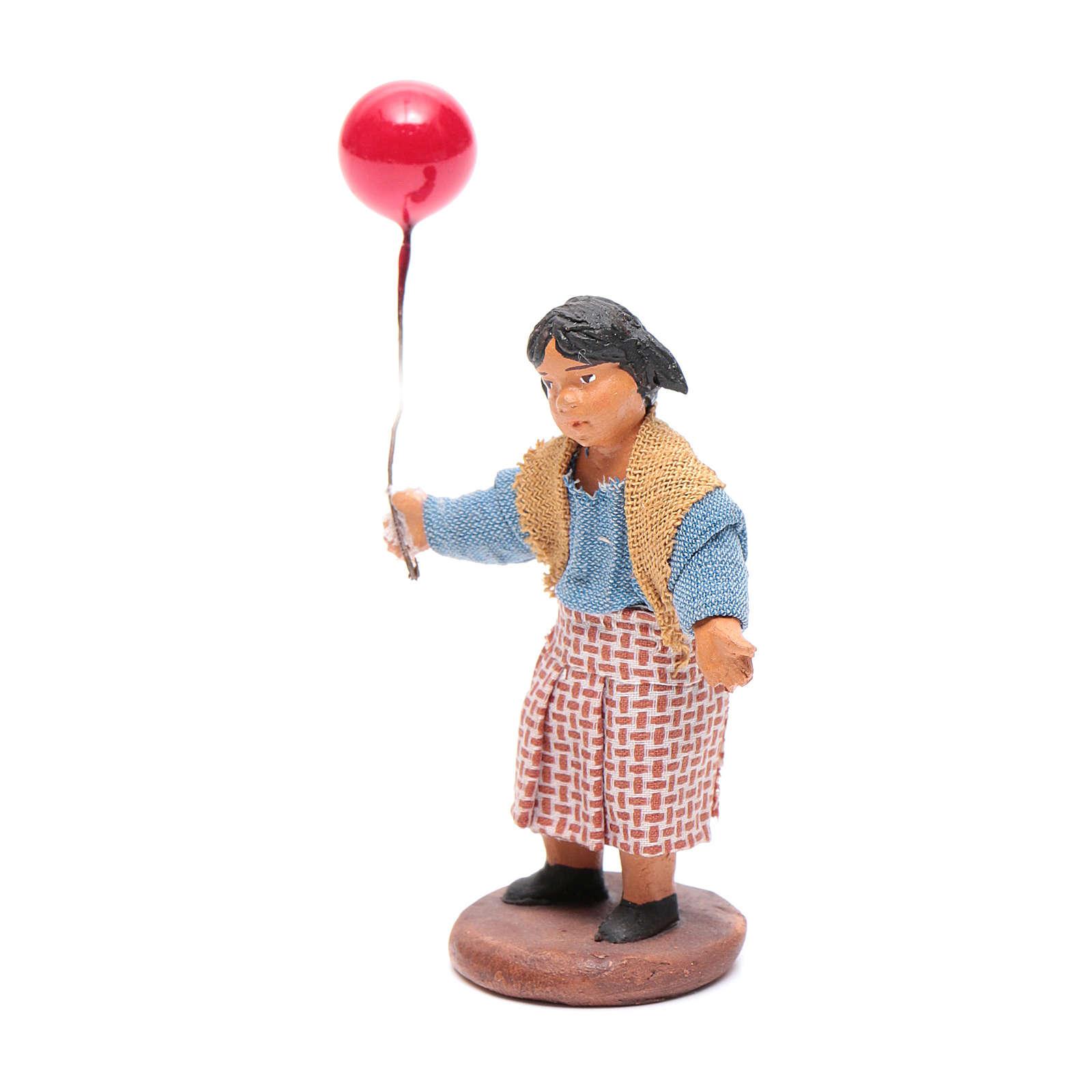 Fanciulla con palloncino 12 cm presepe napoletano 4
