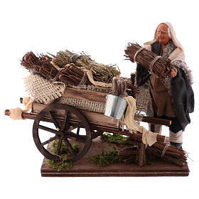 Neapolitan Nativity Scene: Man with hand-cart full of faggots 12cm, Neapolitan Nativity scene
