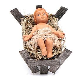 Neapolitan Nativity Scene: Baby in wooden cradle 12cm Neapolitan Nativity