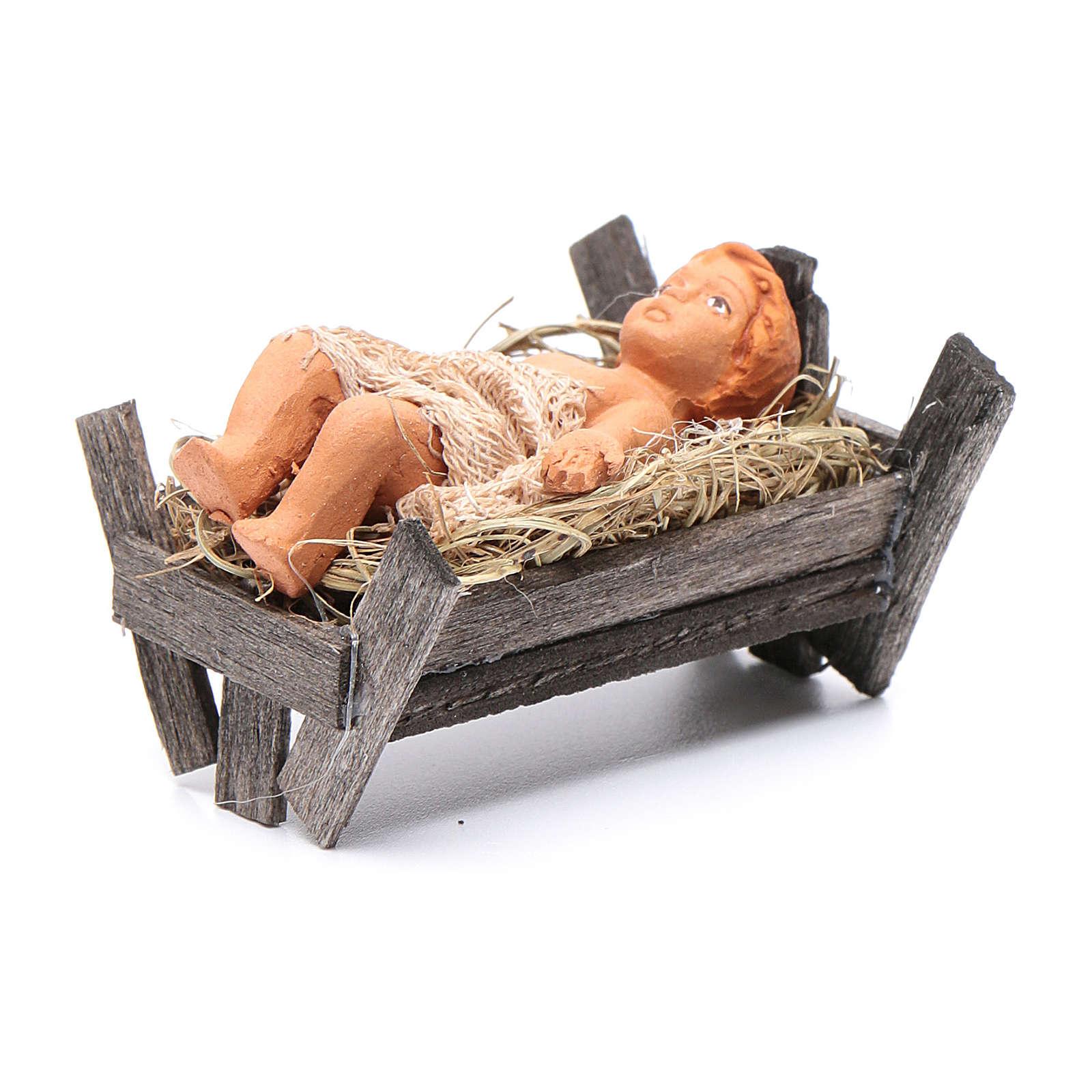 Bambino culla in legno 12 cm presepe napoletano 4