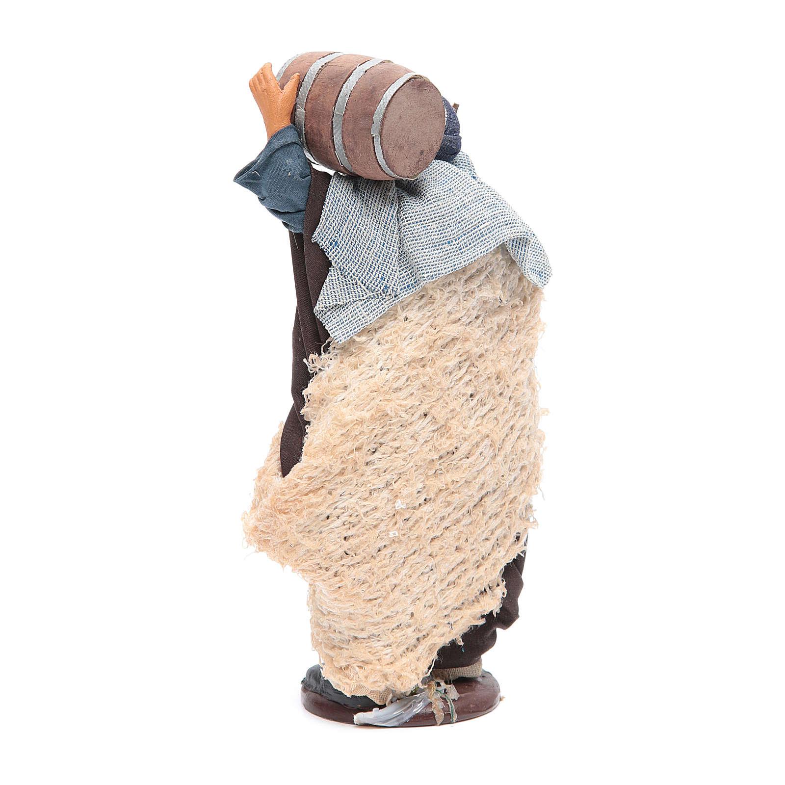 Homme avec tonneau sur les épaules et canne 14 cm crèche napolitaine 4