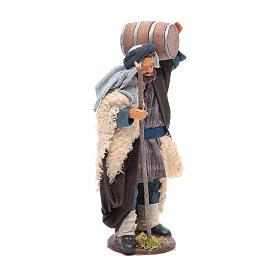 Homme avec tonneau sur les épaules et canne 14 cm crèche napolitaine s4