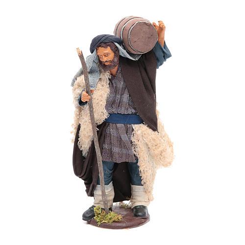 Homme avec tonneau sur les épaules et canne 14 cm crèche napolitaine 1