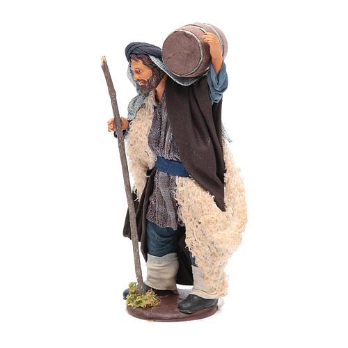 Homme avec tonneau sur les épaules et canne 14 cm crèche napolitaine 2