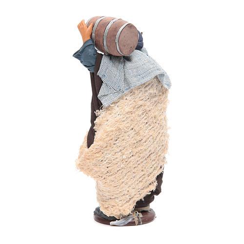 Homme avec tonneau sur les épaules et canne 14 cm crèche napolitaine 3