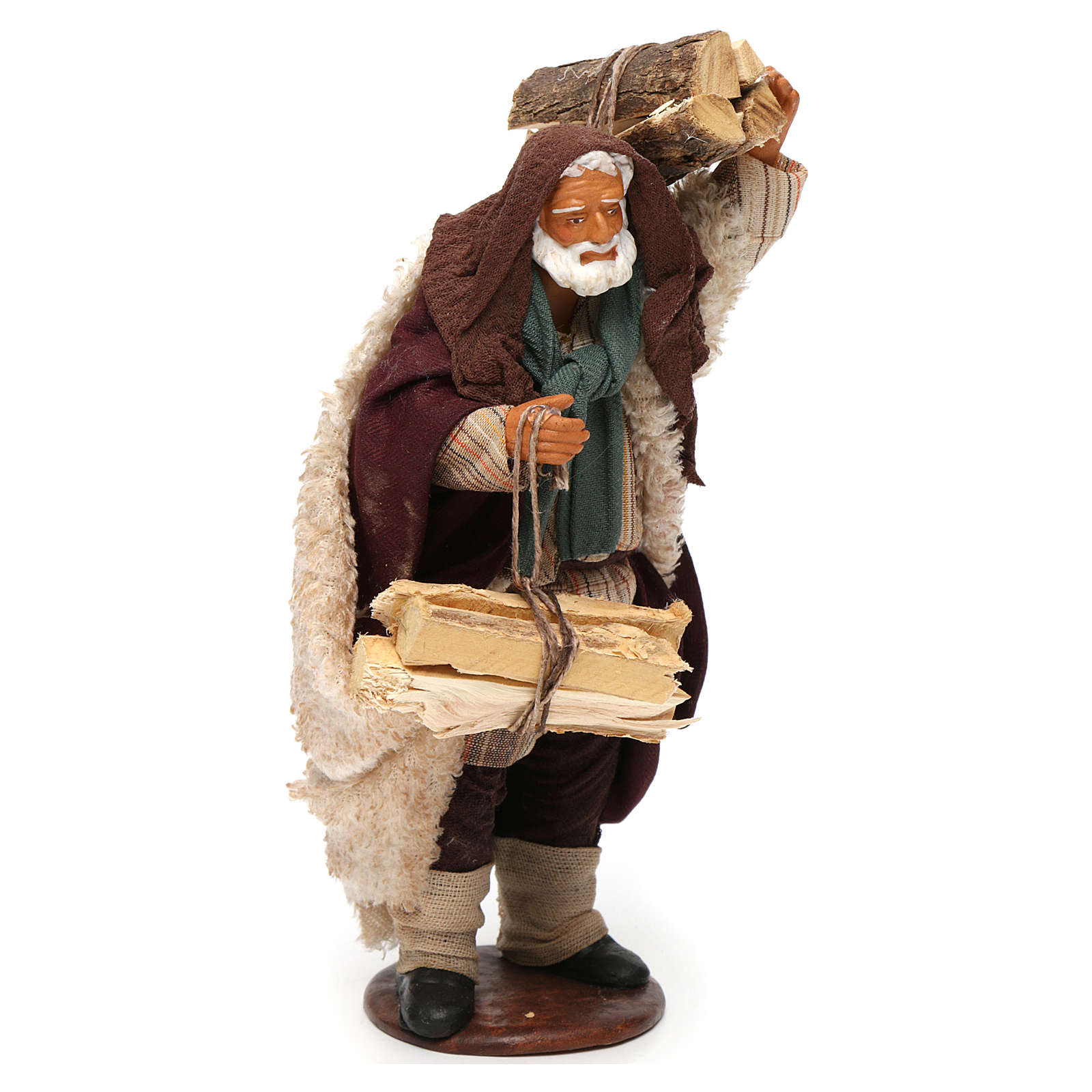 Hombre con leña 14 cm de altura media belén napolitano 4