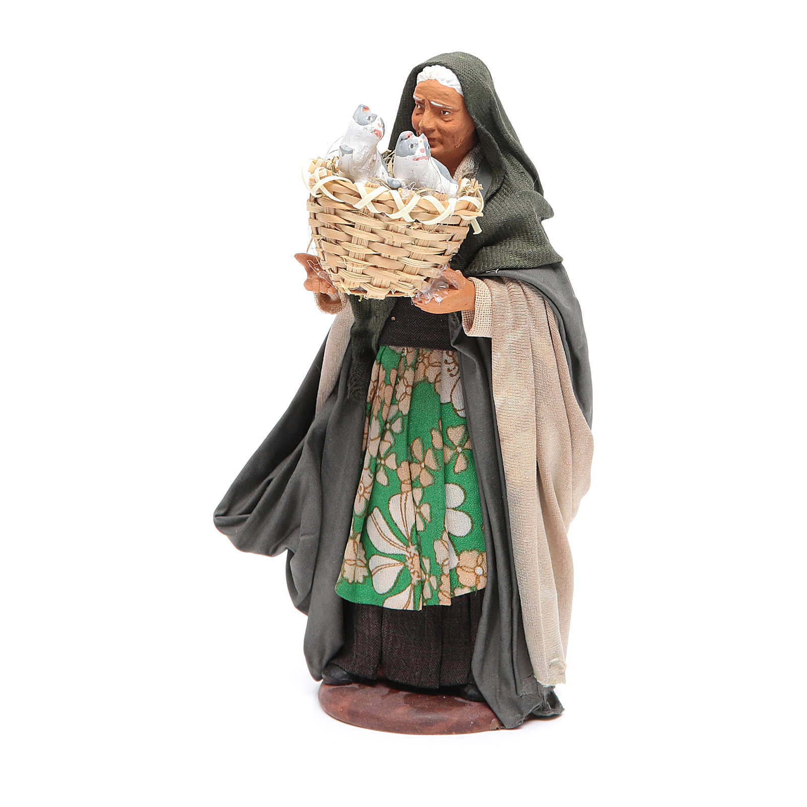 Mujer con cesto con gatos 14 cm belén napolitano 4