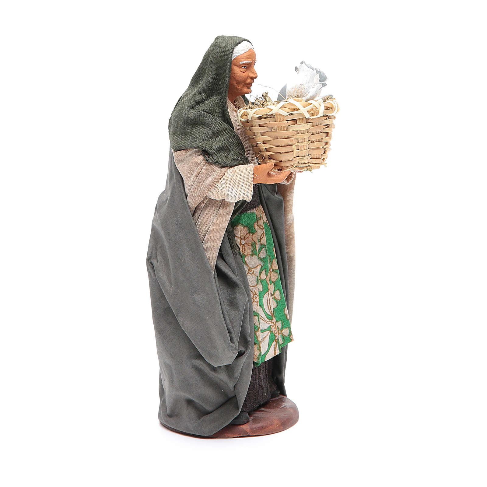 Donna con cesto con gatti 14 cm presepe napoletano 4