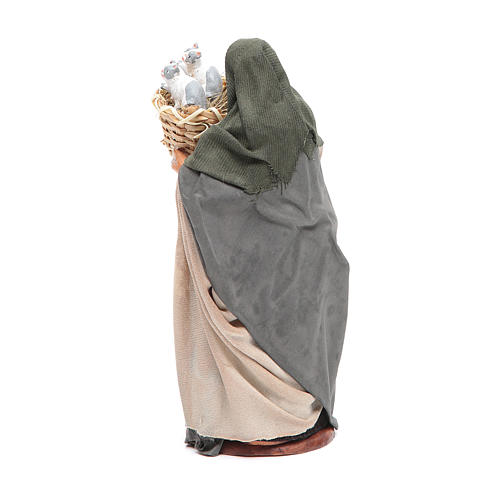 Donna con cesto con gatti 14 cm presepe napoletano 3