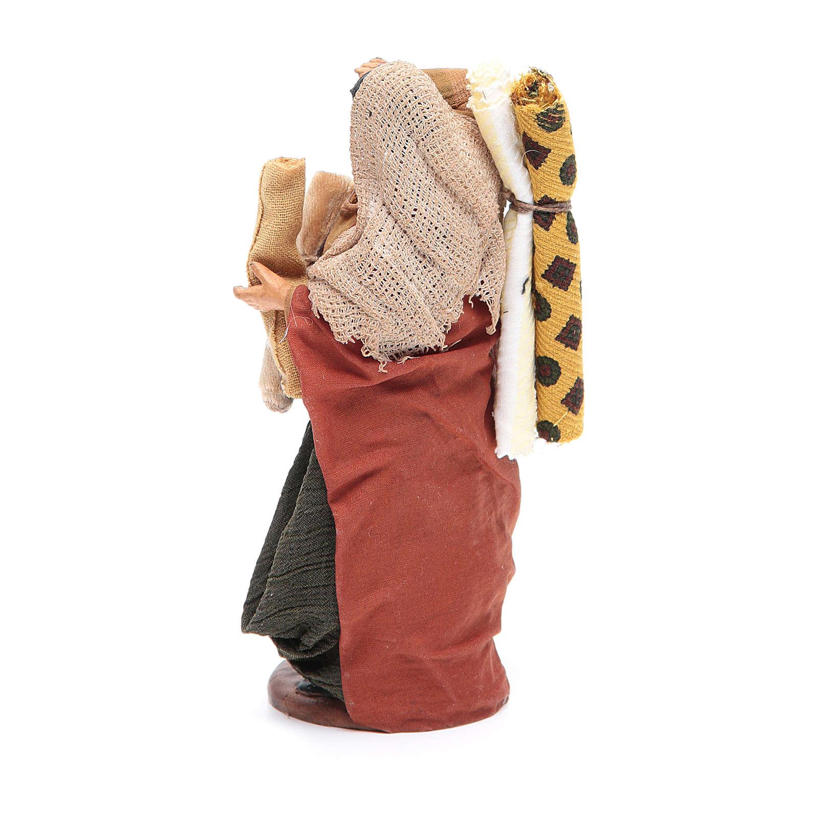 Donna con stoffe 14 cm presepe napoletano 4