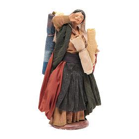 Donna con stoffe 14 cm presepe napoletano s1
