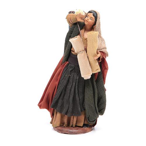 Donna con stoffe 14 cm presepe napoletano 2