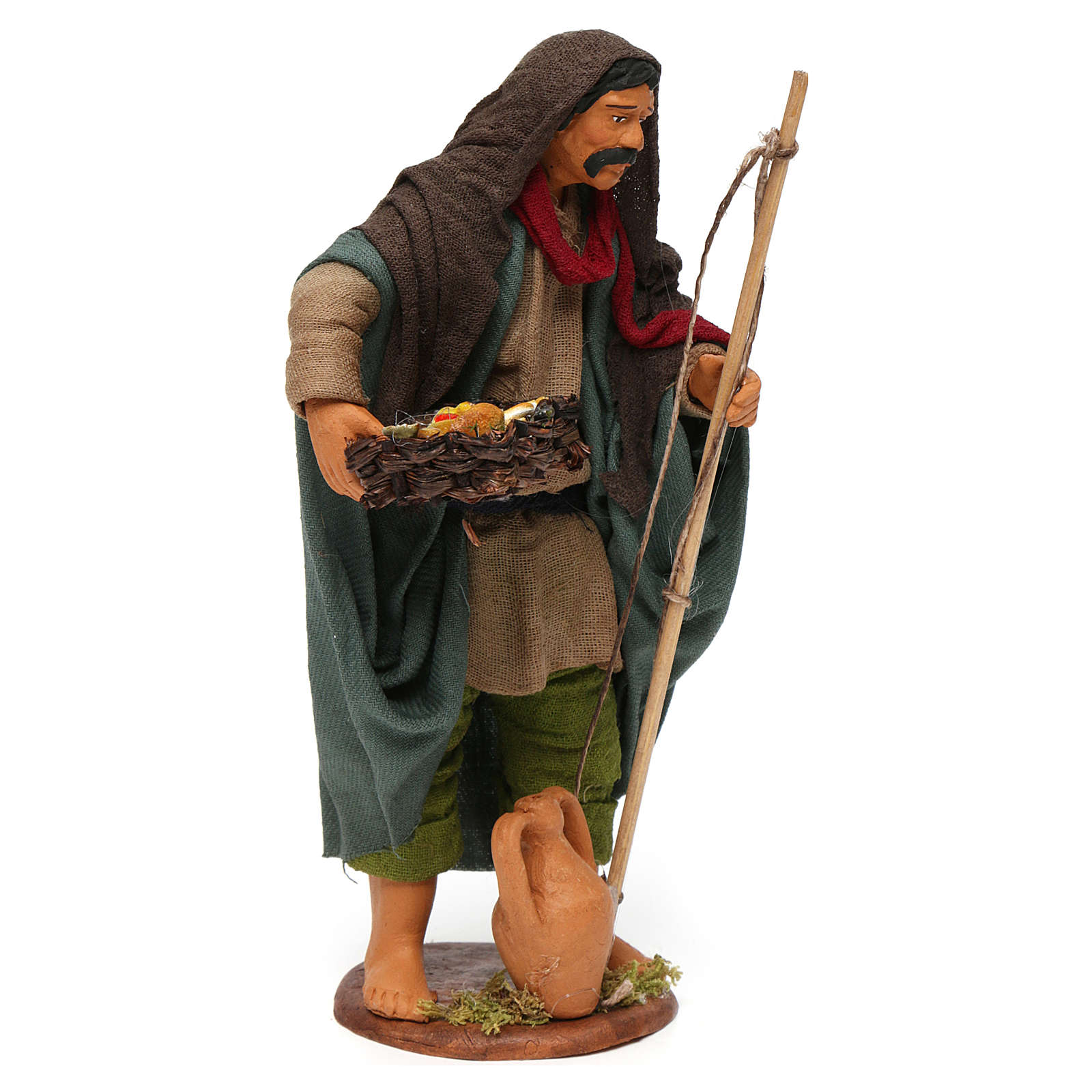 Pescador viejo con cesto 16 cm belén napolitano 4