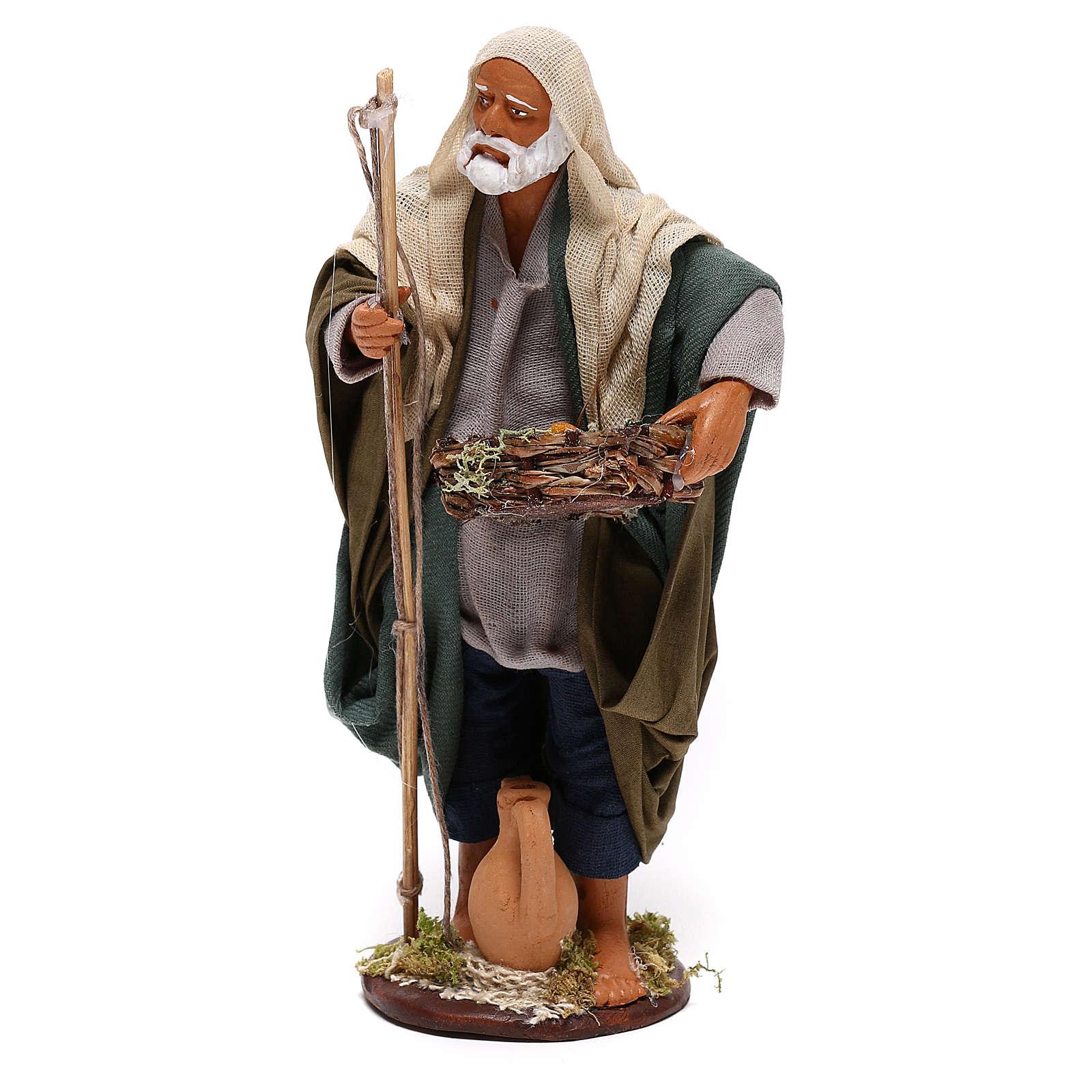 Pescatore anziano con cesto 16 cm presepe napoletano 4