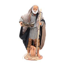 Pescatore anziano con cesto 16 cm presepe napoletano s1