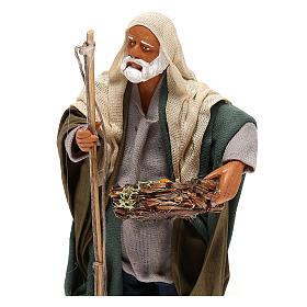 Pescatore anziano con cesto 16 cm presepe napoletano s2