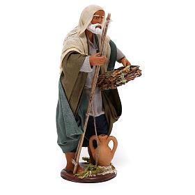 Pescatore anziano con cesto 16 cm presepe napoletano s4