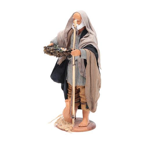 Pescatore anziano con cesto 16 cm presepe napoletano 2