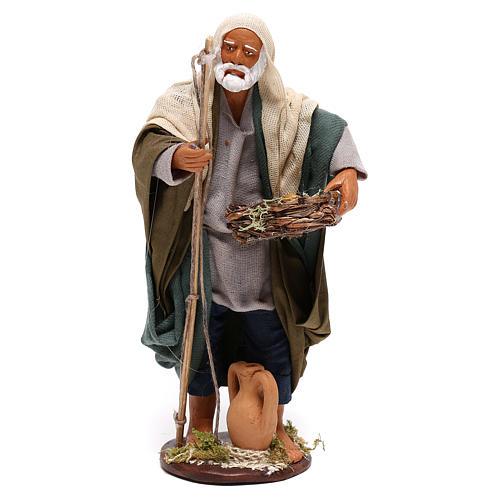 Pescatore anziano con cesto 16 cm presepe napoletano 1