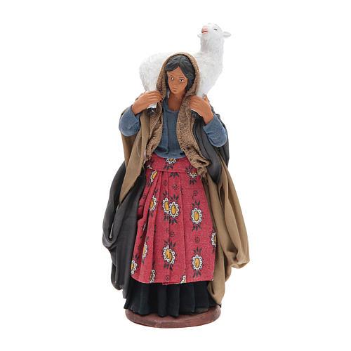 Donna con pecora sulle spalle 14 cm presepe napoletano 1