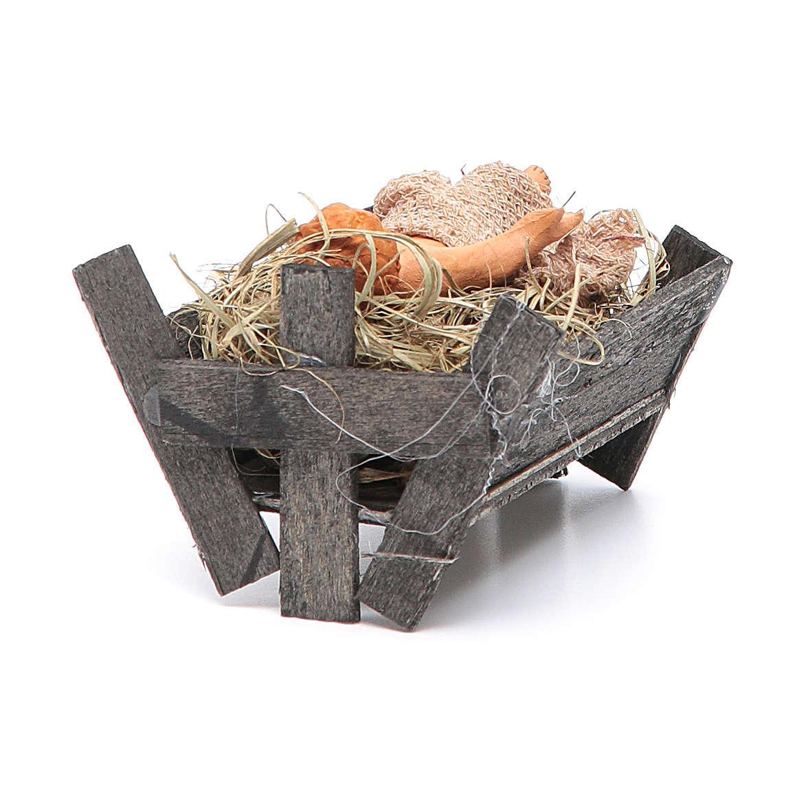 Bambinello in culla di legno 14 cm presepe napoletano 4