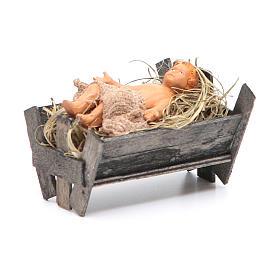 Bambinello in culla di legno 14 cm presepe napoletano s3