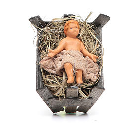 Baby Jesus with cradle 14cm Neapolitan Nativity s1