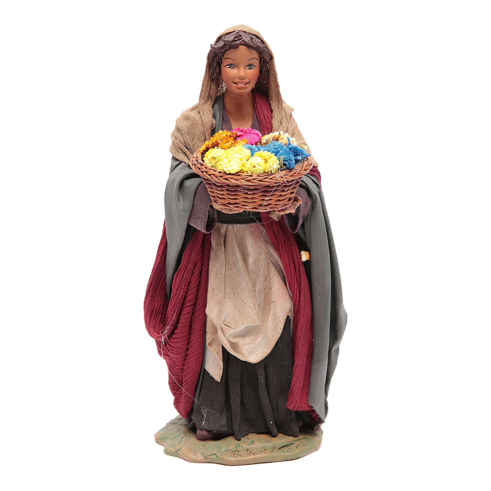 Donna con cesto di fiori 24 cm presepe napoletano 4