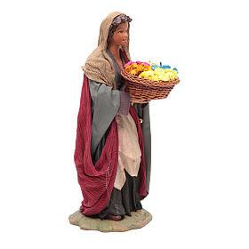 Donna con cesto di fiori 24 cm presepe napoletano s4
