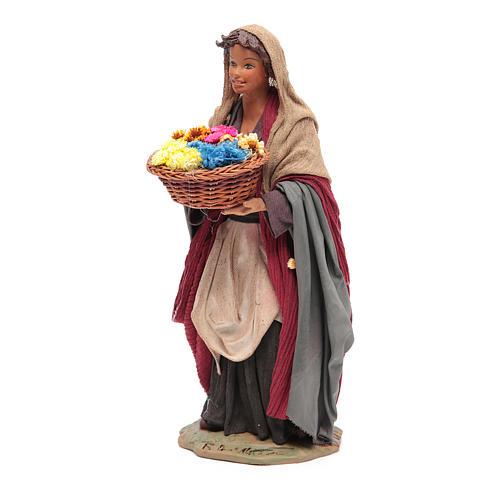 Donna con cesto di fiori 24 cm presepe napoletano 2