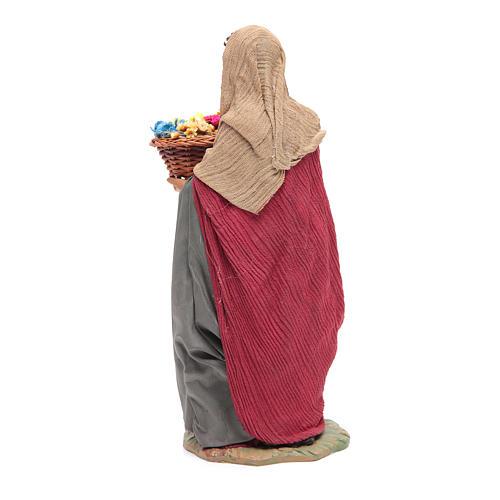 Donna con cesto di fiori 24 cm presepe napoletano 3