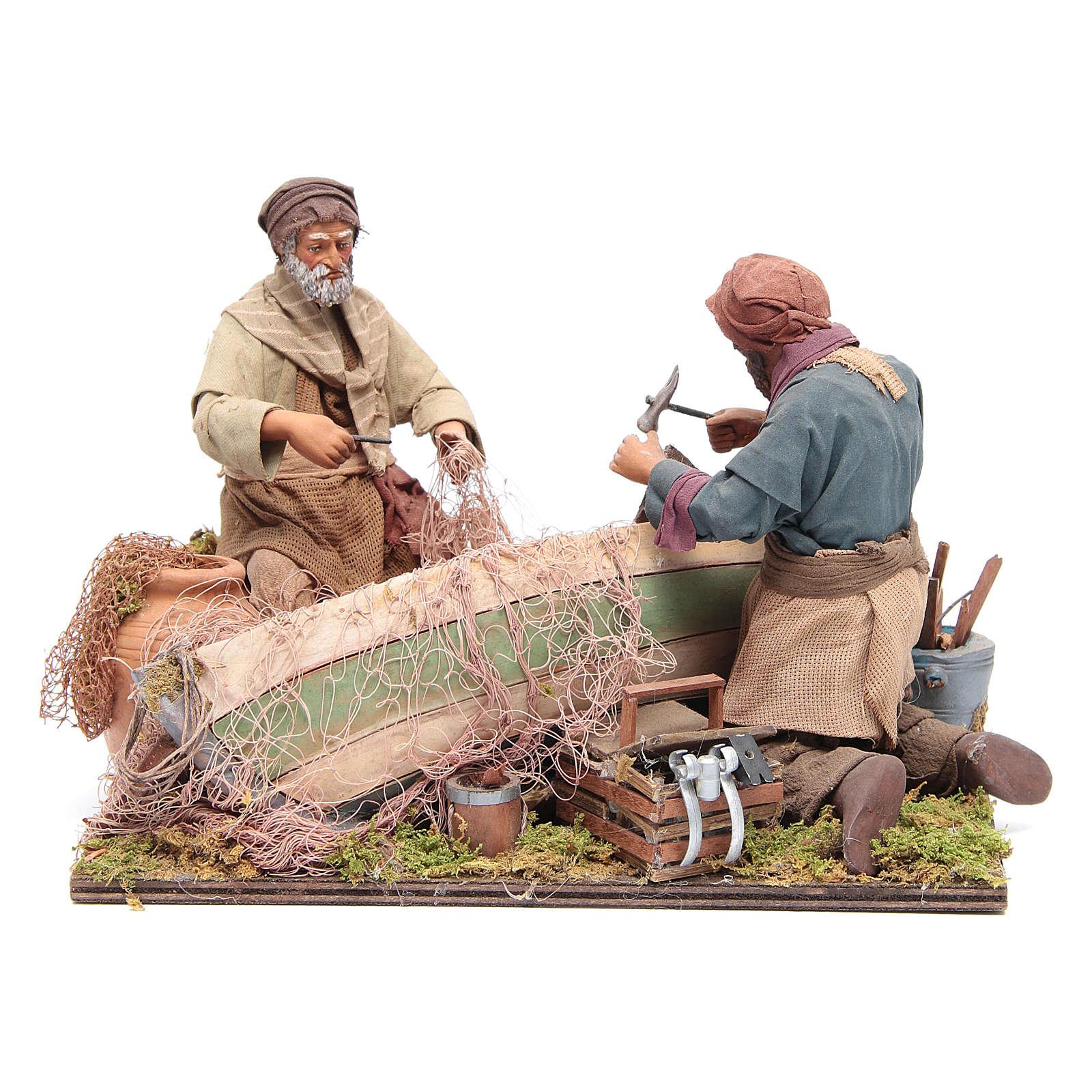 Escena de pescadores belén napolitano 24 cm 4