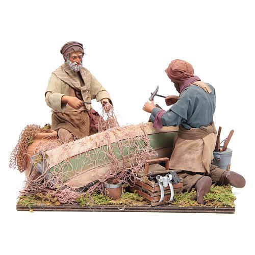 Escena de pescadores belén napolitano 24 cm 1