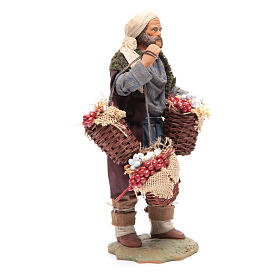Uomo con cesta di pomodoro e aglio 24 cm presepe Napoli s4