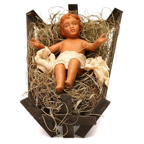 Niño en cuna de madera 30 cm belén napolitano 1