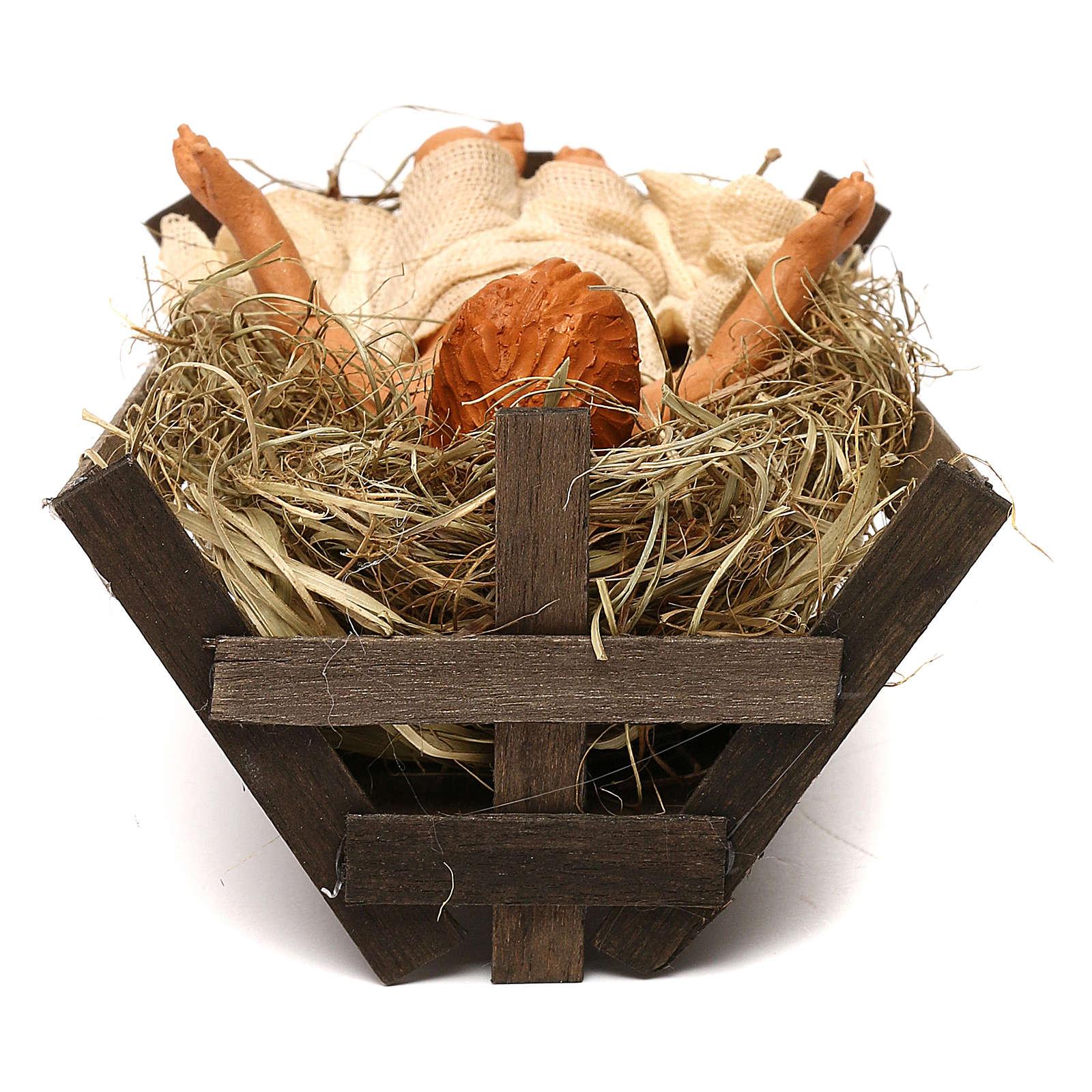 Enfant Jésus berceau en bois crèche napolitaine 30 cm 4