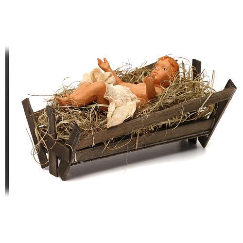 Enfant Jésus berceau en bois crèche napolitaine 30 cm 2