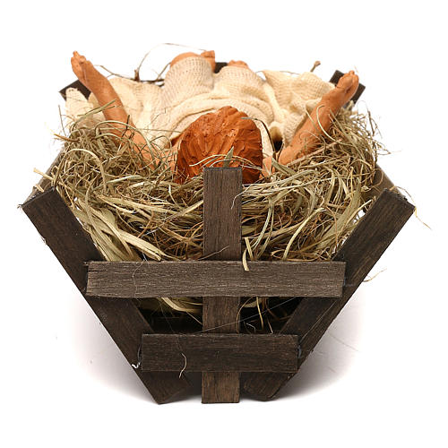 Baby Jesus with cradle 30cm Neapolitan Nativity 3