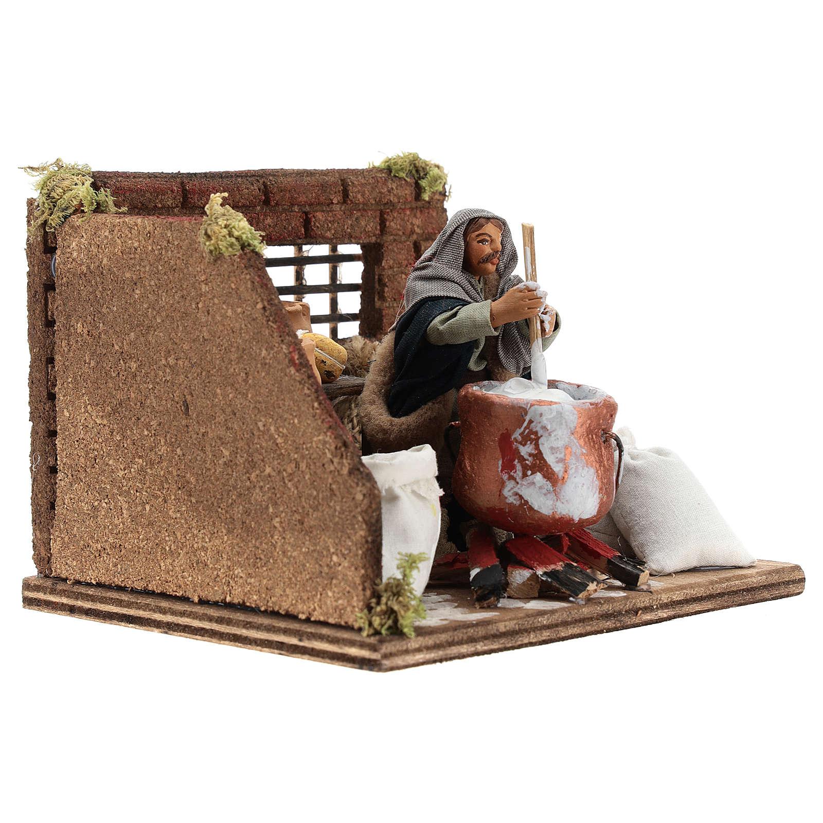 Ricotta cheese seller 10 cm in terracotta for Neapolitan nativity scene 4