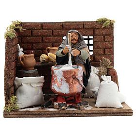 Ricotta cheese seller 10 cm in terracotta for Neapolitan nativity scene s1