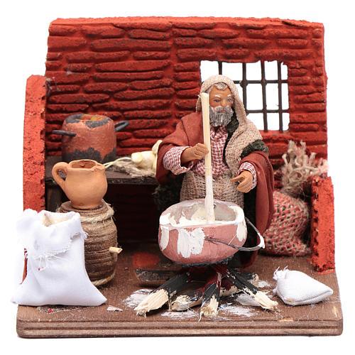 Ricotta cheese seller 10 cm in terracotta for Neapolitan nativity scene 1