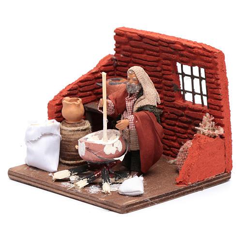 Ricotta cheese seller 10 cm in terracotta for Neapolitan nativity scene 2