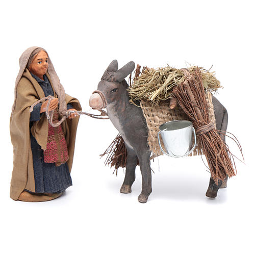Woman with harnessed donkey 10 cm  for Neapolitan nativity scene 1