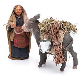 Femme avec âne chargé 10 cm crèche napolitaine s2