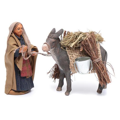 Femme avec âne chargé 10 cm crèche napolitaine 1