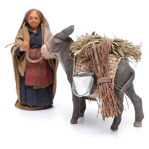 Femme avec âne chargé 10 cm crèche napolitaine 2